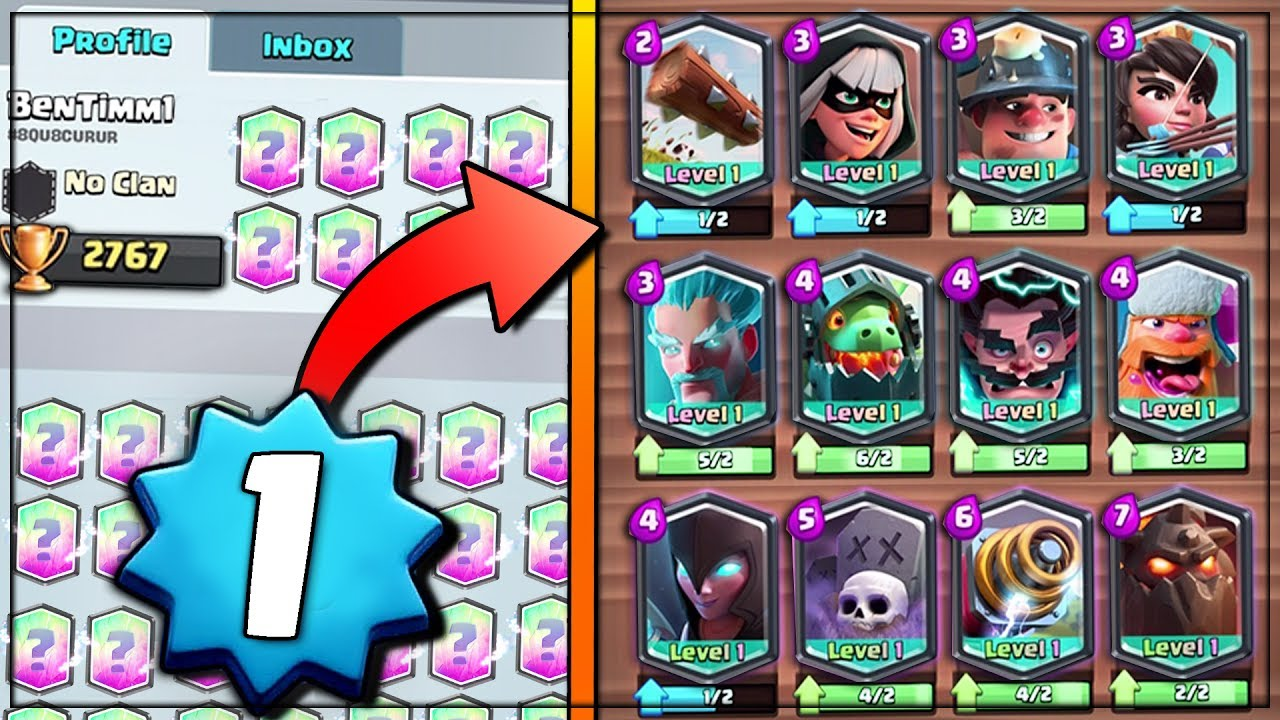 Level 1 Opens Every Legendary Card Clash Royale Level 1 Player With All Legendaries