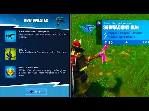 *NEW* SUBMACHINE GUN EARLY GAMEPLAY! - Fortnite Battle Royale MP5 Submachine Gun Update V5.0