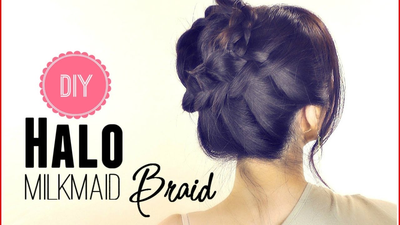 HAIR TUTORIAL EVERYDAY HALO MILKMAID BRAID FOR MEDIUM - Easy Prom Hairstyles