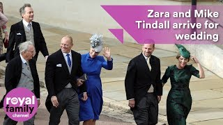 Zara and Mike Tindall arrive for Princess Eugenie's wedding