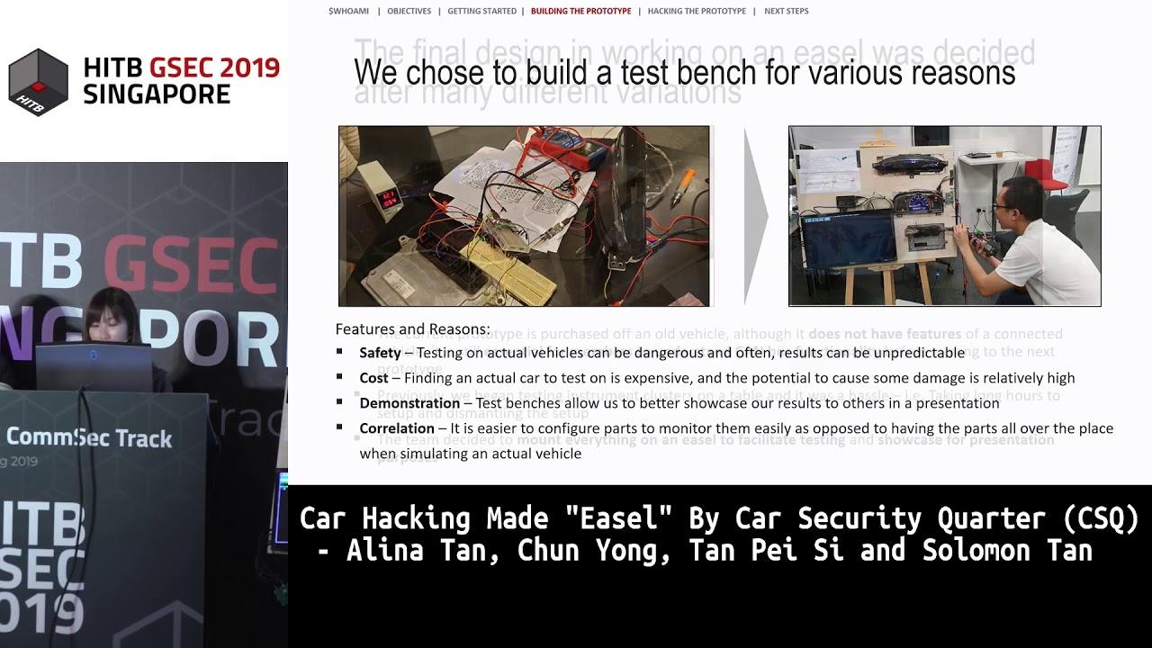 "#HITBGSEC COMMSEC: Car Hacking Made ""Easel"" - Alina Tan, Chun Yong, Tan Pei Si and Solomon Tan"