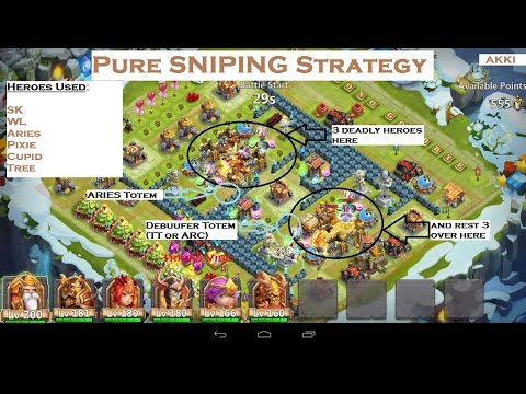 Castle Clash-Raiding Strategy Of Base With 3-3 Heroes On 2 Sides [Pure Sniping Strategy](EXPLAINED)