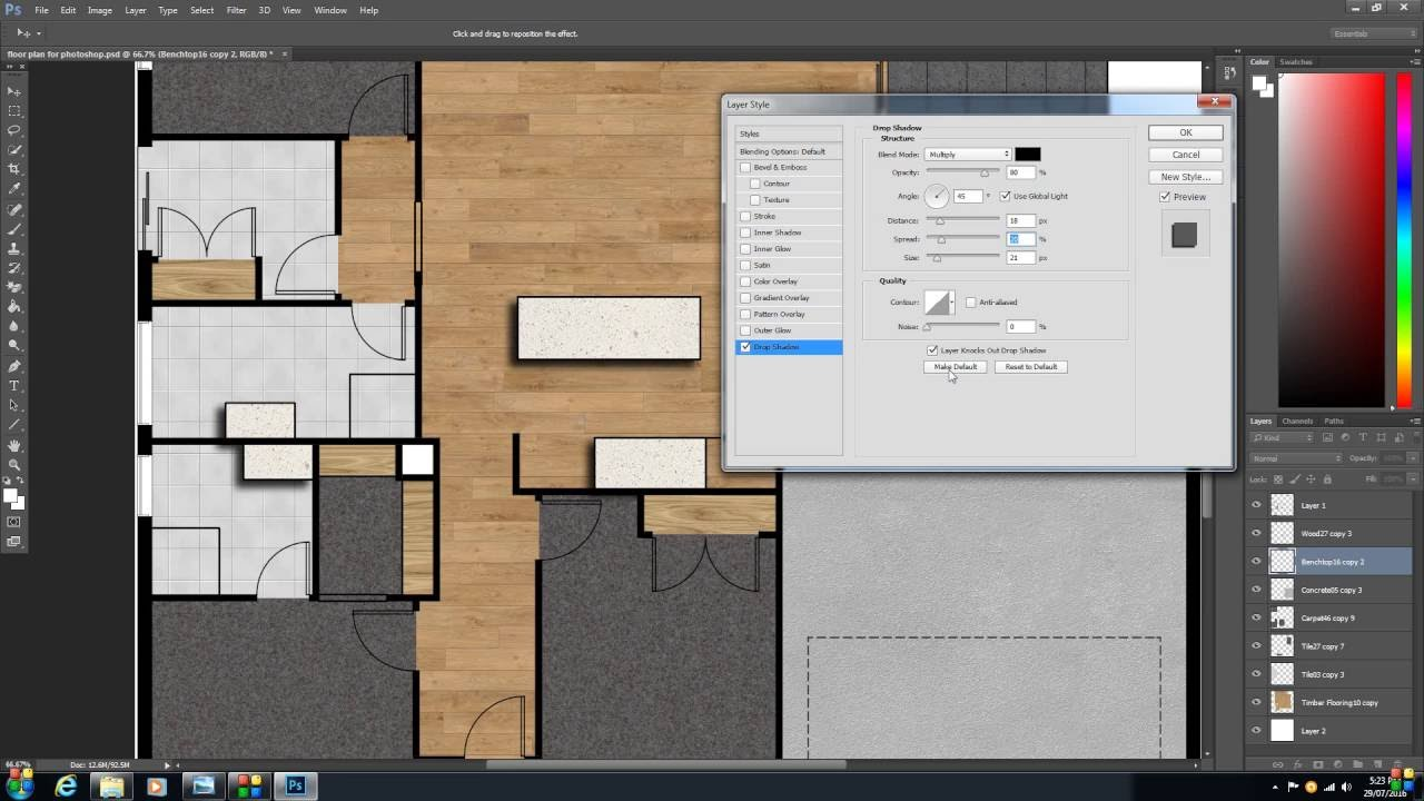 How To Create A 2D Colour Floor Plan Or Rendered Floor
