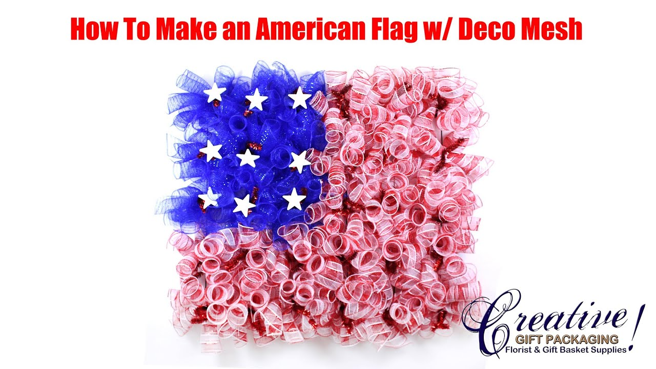 How To Make An American Flag With Deco Mesh American Flag Deco Mesh Wreath Youtube