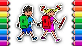 Coloring Boy and Girl getting ready for school | Awesome coloring pages for kids
