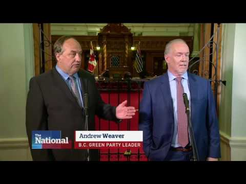 Andrew Weaver's Greens will support John Horgan's NDP in forming new BC Government