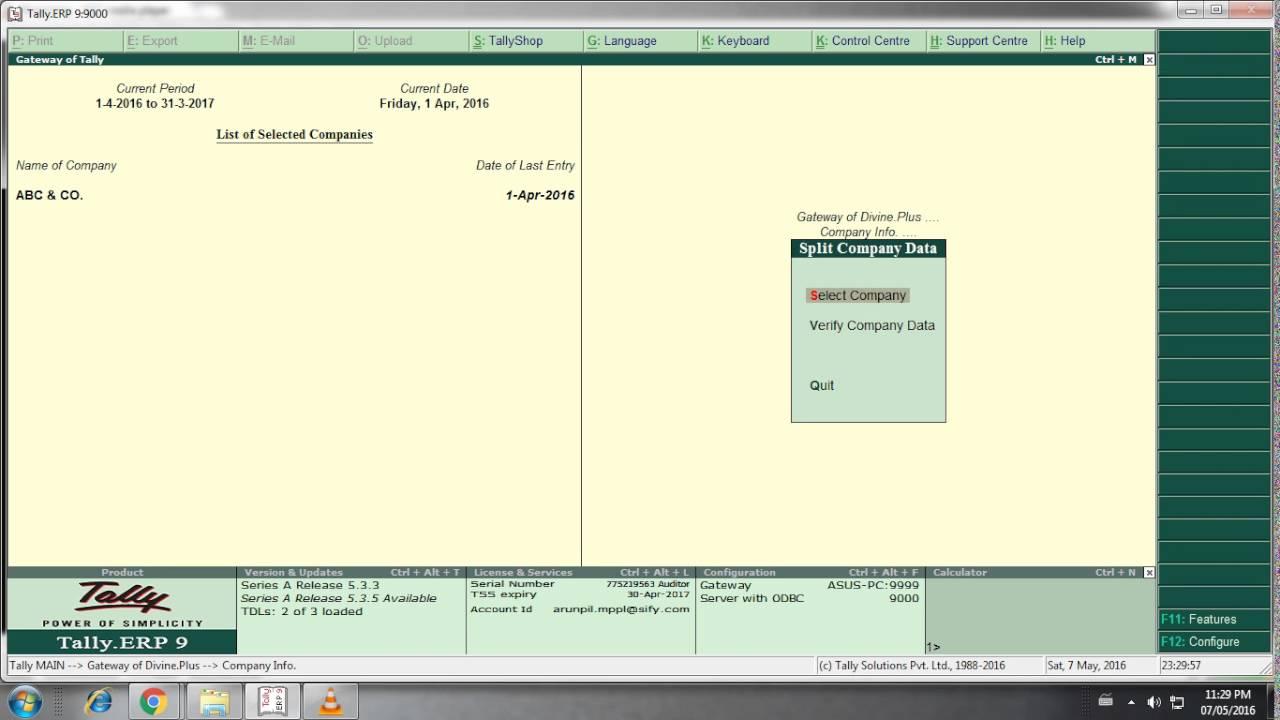 Image result for split company data in tally