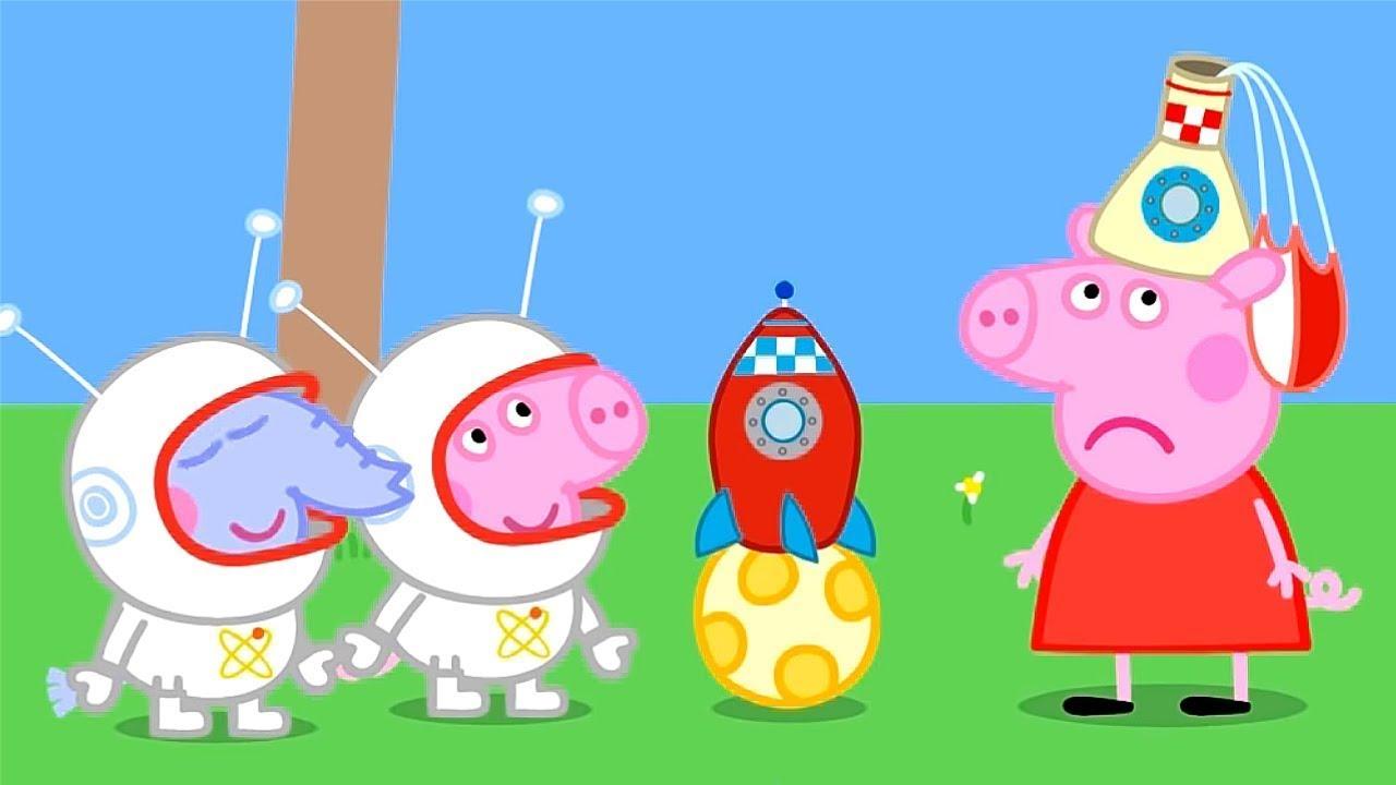 Peppa Pig 🚀 Aya uçuş 🌜 Derleme ⭐ Programının en iyi bölümleri   Çocuklar için Çizgi Filmler