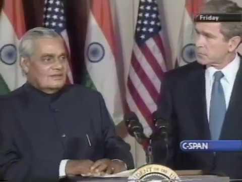 George W Bush and Atal Bihari Vajpayee meeting 2001