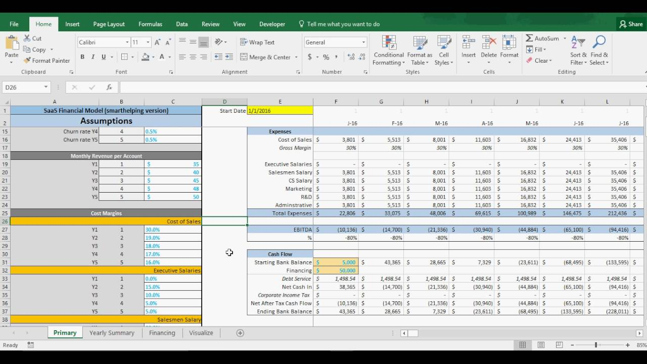saas pricing model template - 5 year saas startup model in excel highly flexible and