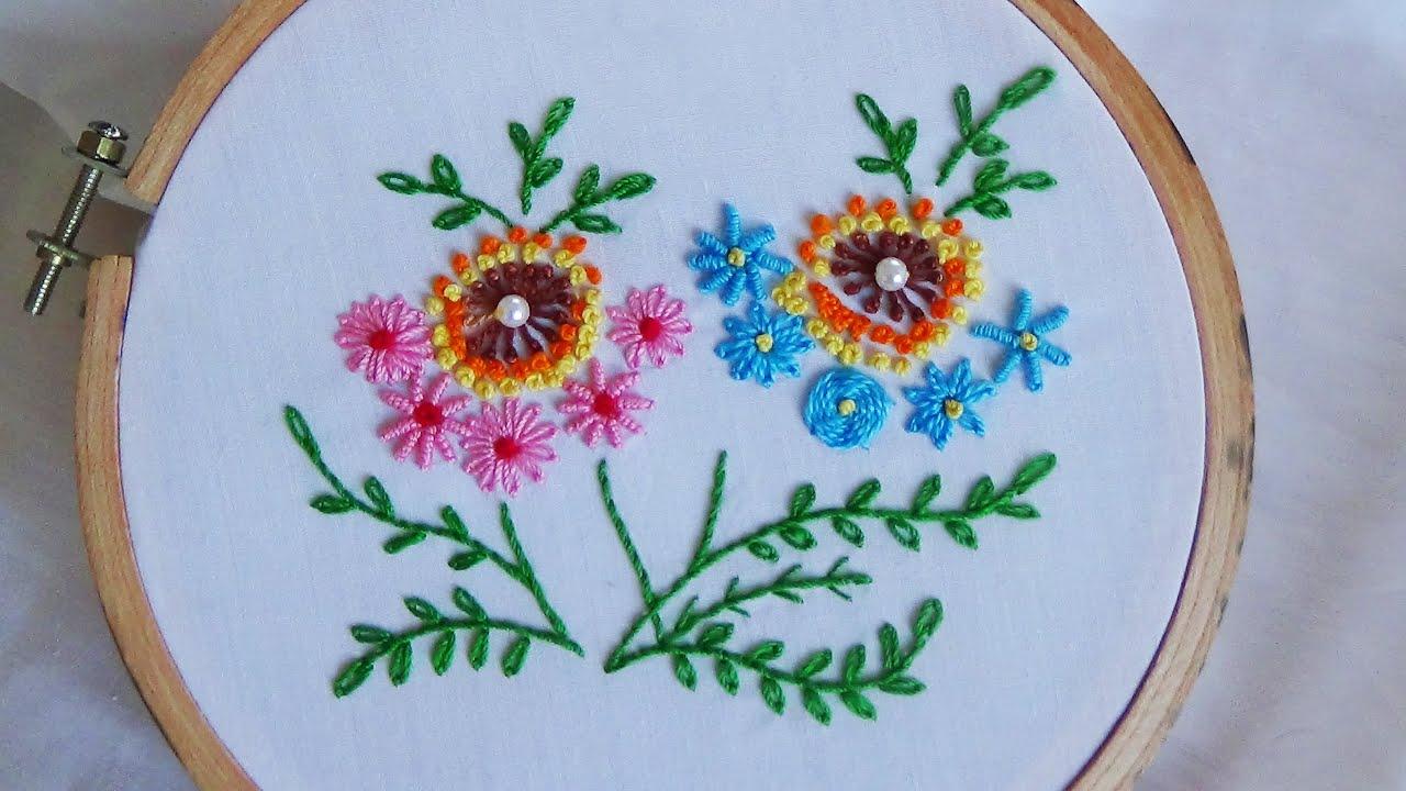 Hand embroidery lazy daisy stitch variation youtube