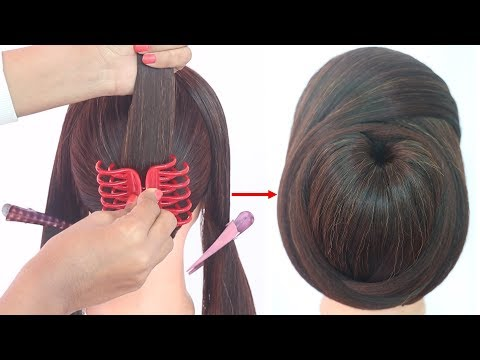 chignon bun hairstyle with clutcher | chinese bun | everyday hairstyle | cute hairstyle | hairstyle