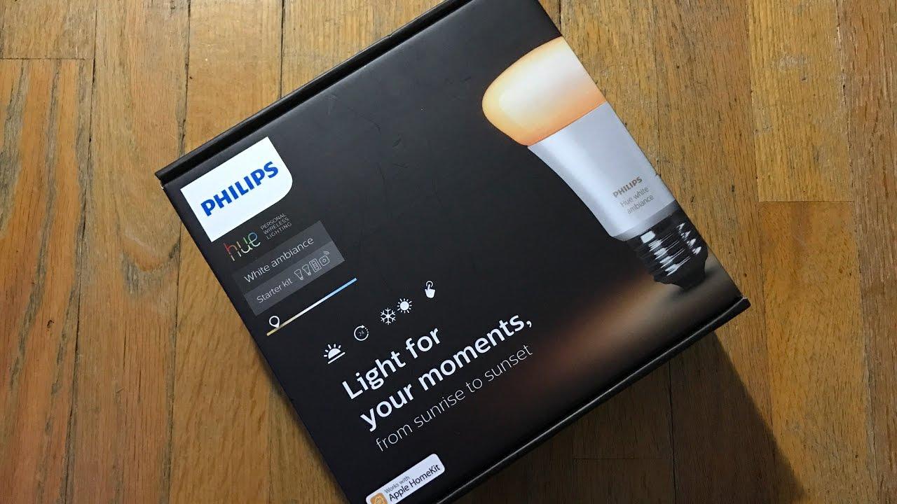 Philips Hue White Ambiance Starter Kit (2 Hue White Ambiance bulbs, Hue  Bridge, Switch)