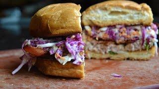 Pork Feta Burger with asian slaw