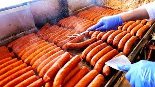 Американская уличная еда - Лучшие хот-доги в Чикаго! колбасы, гамбургеры свиные отбивные