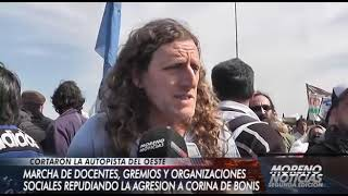 Marcha de docentes, gremios y organizaciones sociales en repudio a la agresión a Corina De Bonis