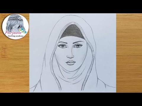 a-girl-with-hijab-pencil-sketch-/-how-to-draw-a-hijab-girl