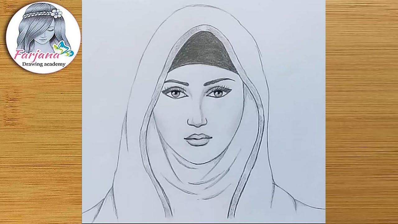 A girl with hijab pencil sketch how to draw a hijab girl