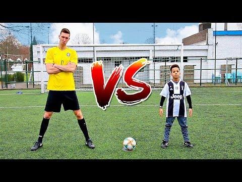 FOOTBALL CHALLENGES VS CRISTIANO RONALDO JR *HE'S GOOD*