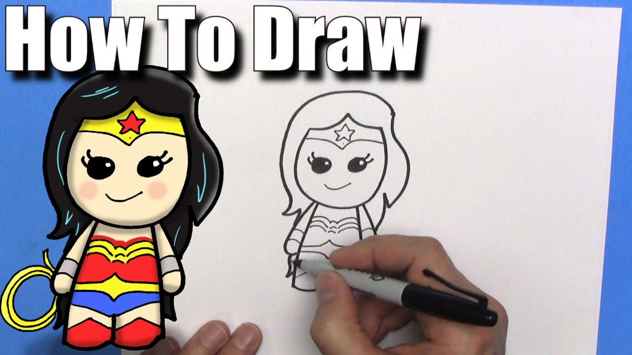 how to draw wonder woman easy chibi step by step kawaii youtube