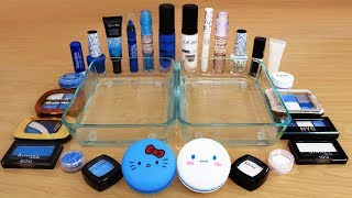 Blue vs White - Mixing Makeup Eyeshadow Into Slime Special Series 165 Satisfying Slime Video