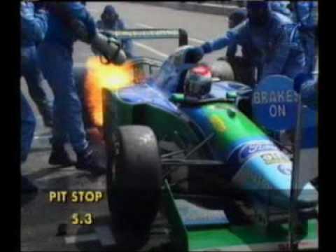Jos Verstappen Pitbrand Hockenheim 1994 Benetton