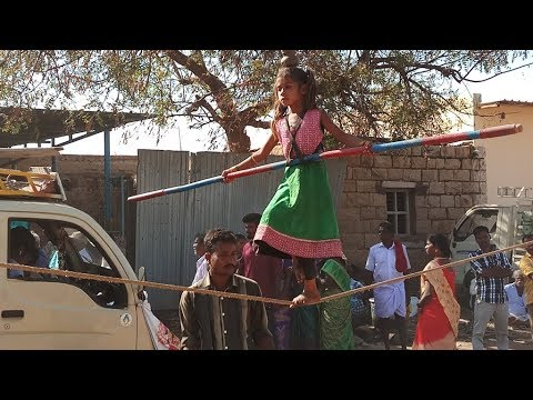 Most Talent Indian Girl Walking On Rope with Plate/Chappal and Steel Wheel