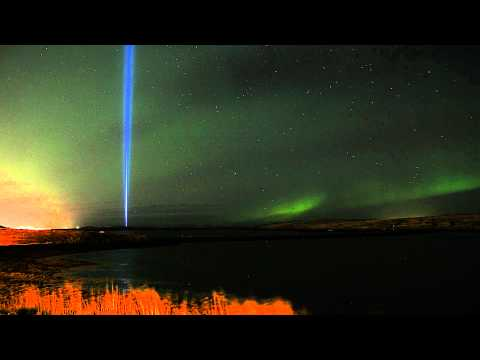 Aurora Borealis and Imagine Peace Tower in Iceland