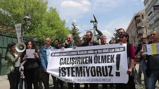 Ankara İşçi Sağlığı ve İş Güvenliği Meclisi Ankara Madenci Anıtının önünde Basın Açıklaması Yaptı