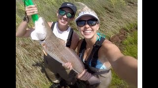 2 girls WADE FISHING for REDFISH on POPPING CORKS ft HOW TO
