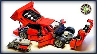 Lego Ferrari F40 with V8 engine stop motion review | ALEXSPLANET