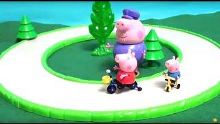 Мультфильм игрушками Свинка Пиги Pig Сюрприз (Катание на велосипедах)