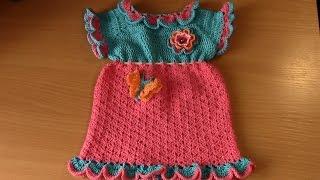 Вязание платья для маленькой девочки  Часть 5 из 10(В видео показано вязание крючком детского платья для маленькой девочки от трех месяцев. Адрес ссылки плейл..., 2016-06-11T14:16:36.000Z)