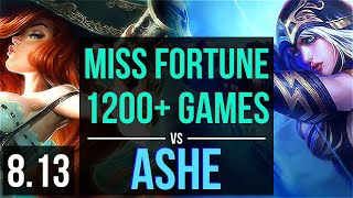 MISS FORTUNE vs ASHE (ADC) ~ 1200+ games, KDA 20/3/6, Legendary ~ Korea Diamond ~ Patch 8.13