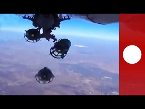 Bird's-eye view of 'Russian cluster bomb strikes ISIL in Syria'