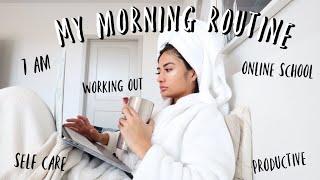 my 7am quarantine morning routine *very productive*