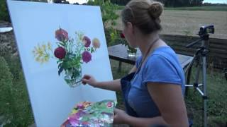 Oil painting a vase of flowers au plein aire with Zoia Skoropadenko