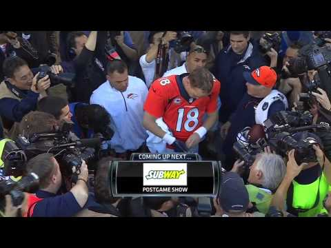 Peyton Manning Removes Stickers from AFC Championship Hat