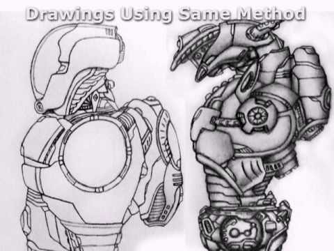 Mech Robotic Leg Drawing Tutorial How To Draw Sci Fi Step By Step