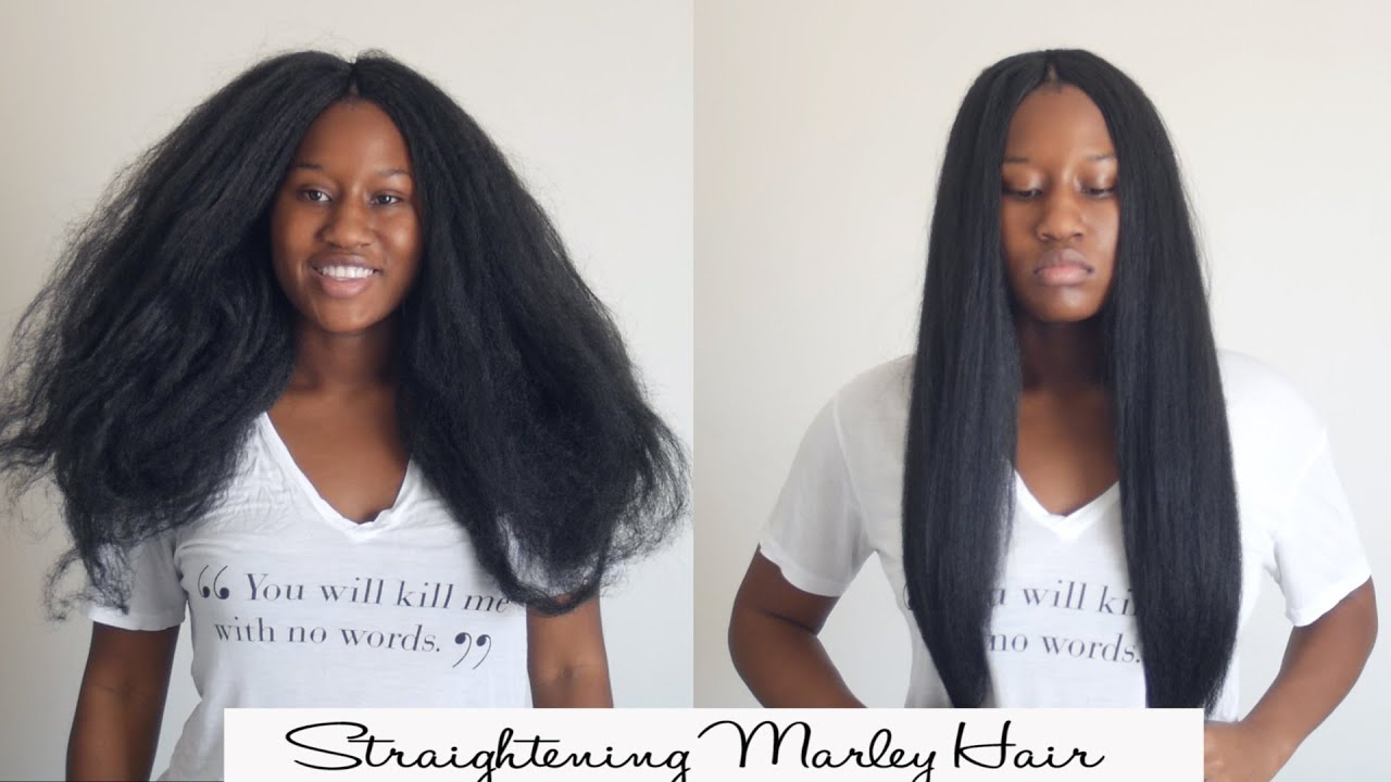 How To Flat Iron Marley Synthetic Braiding Hair Youtube