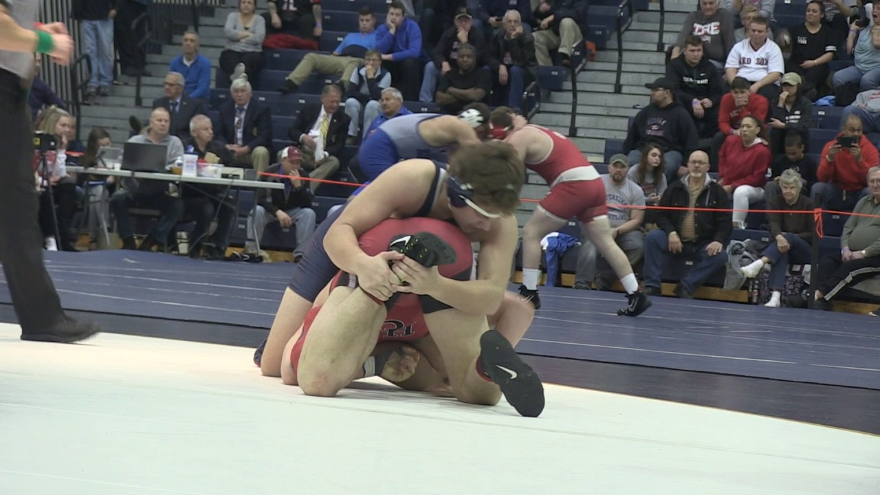 Hunterdon Central's Michael Iodice wins 195 by pin 3:50 over Howell's Danny Schick in Group 5 final