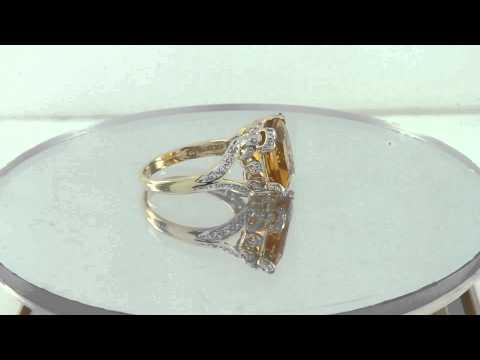 Estate 5.25ct Citrine & Diamond 14K Yellow Gold Ring