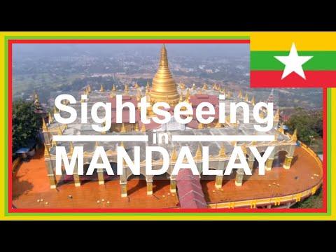 Sightseeing in Mandalay Sataungyei Pagoda on Mandalay Hill & U-Bein Bridge drone footage