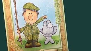 CARDZ 4 MEN! Copic Airbrushed Fisherman Card