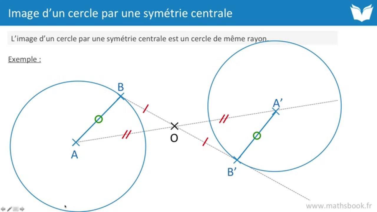 image d 39 un cercle par une sym trie centrale cours de maths youtube. Black Bedroom Furniture Sets. Home Design Ideas