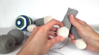 Ослик крючком. Вязаный ослик. Crochet donkey. Вязание для начинающих. (Урок 3 Ушки, ручки, ножки)