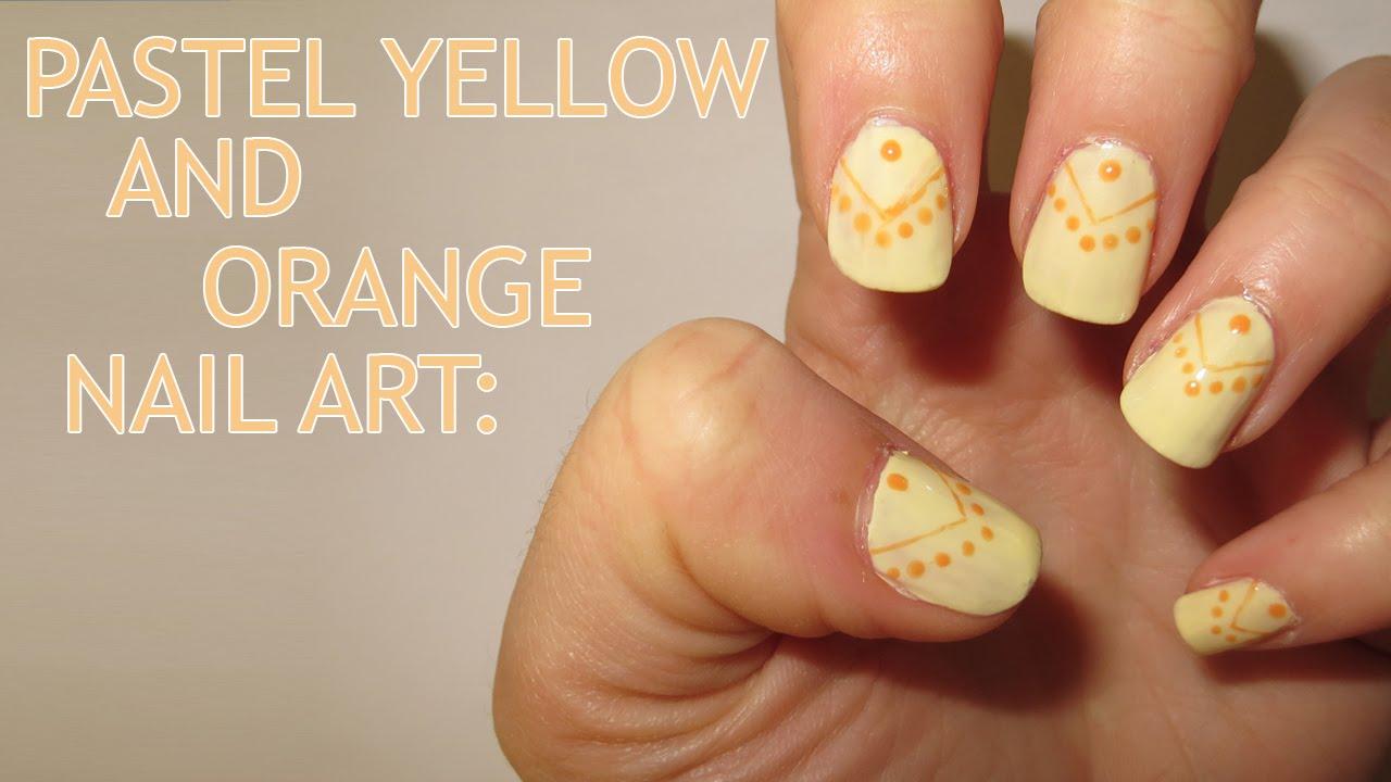 Pastel Yellow And Orange Nail Art