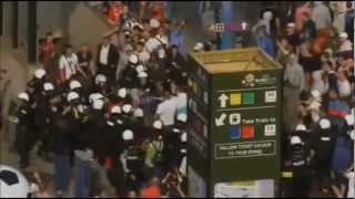 Russia and Poland Football Fans Riot in Warsaw at Euro 2012 Championship