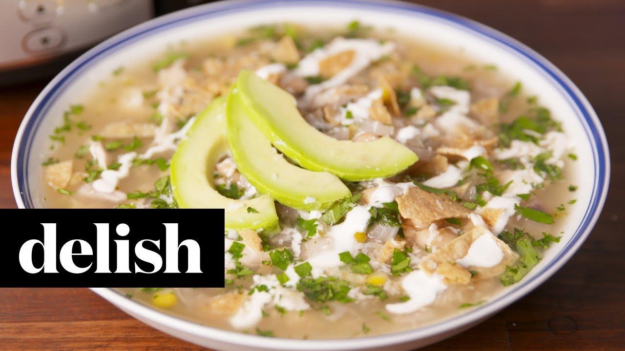 Crock Pot Salsa Verde Chicken Soup Delish Youtube