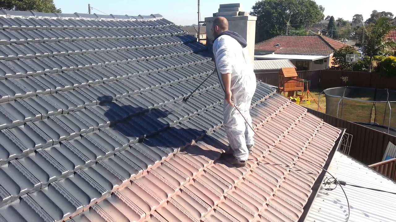 Painting Terracotta Roof Tiles Step 4 Applying Dulux Paint